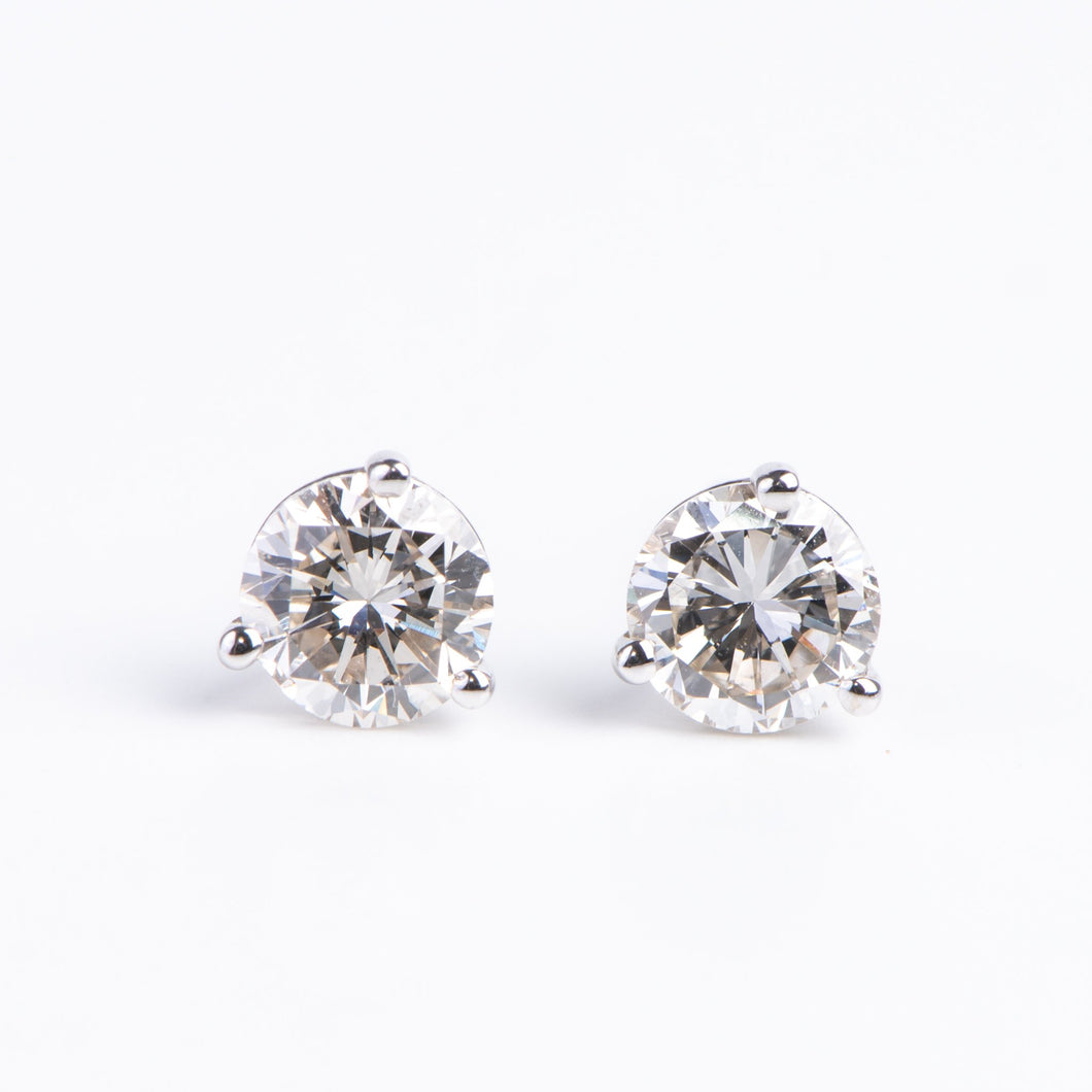 14kt White Gold Diamond solitaire Studs  .10 ctw Diamonds