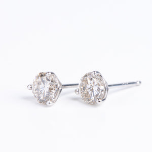 14kt White Gold Diamond Solitaire Studs .70 ctw Diamonds