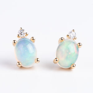 14kt Yellow Gold and Opal Earrings