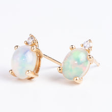 Load image into Gallery viewer, 14kt Yellow Gold and Opal Earrings