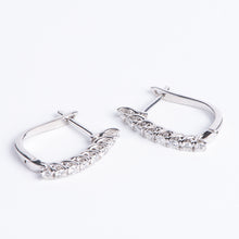 Load image into Gallery viewer, 14kt White Gold and Diamond Hoop Earrings