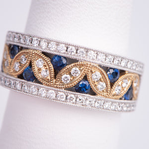 14kt Yellow and White Gold Natural Blue Sapphire and Diamond Ring