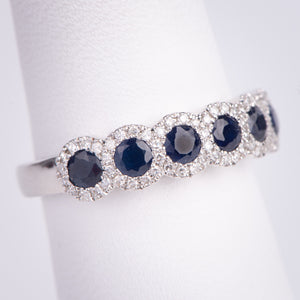 14kt White Gold Natural Sapphire and Diamond Ring