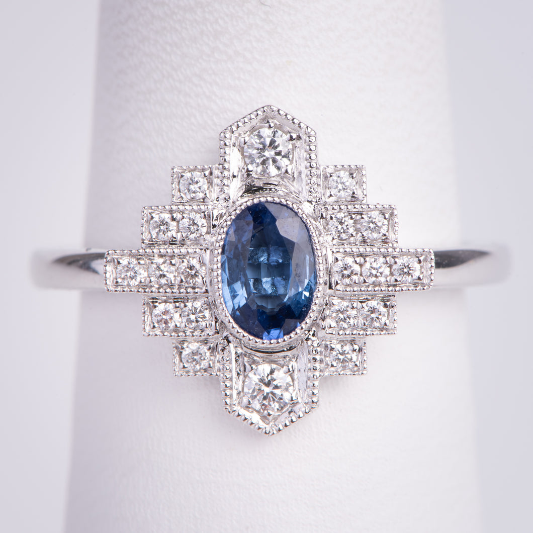 14kt White Gold  Natural Blue Sapphire and Diamond Ring