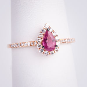 14kt Rose Gold Natural Ruby and Diamond Ring