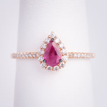 Load image into Gallery viewer, 14kt Rose Gold Natural Ruby and Diamond Ring