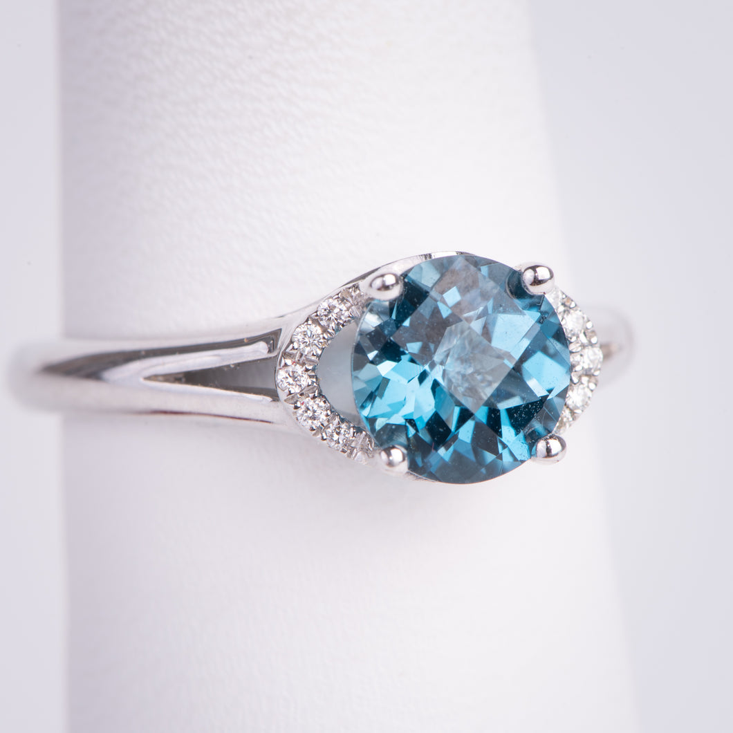 14kt White Gold Blue Topaz and Diamond Ring