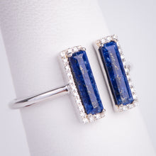 Load image into Gallery viewer, 14kt White Gold Blue Lapis and Diamond Ring