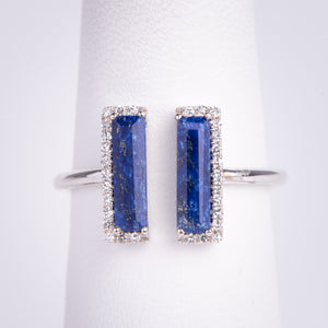 14kt White Gold Blue Lapis and Diamond Ring