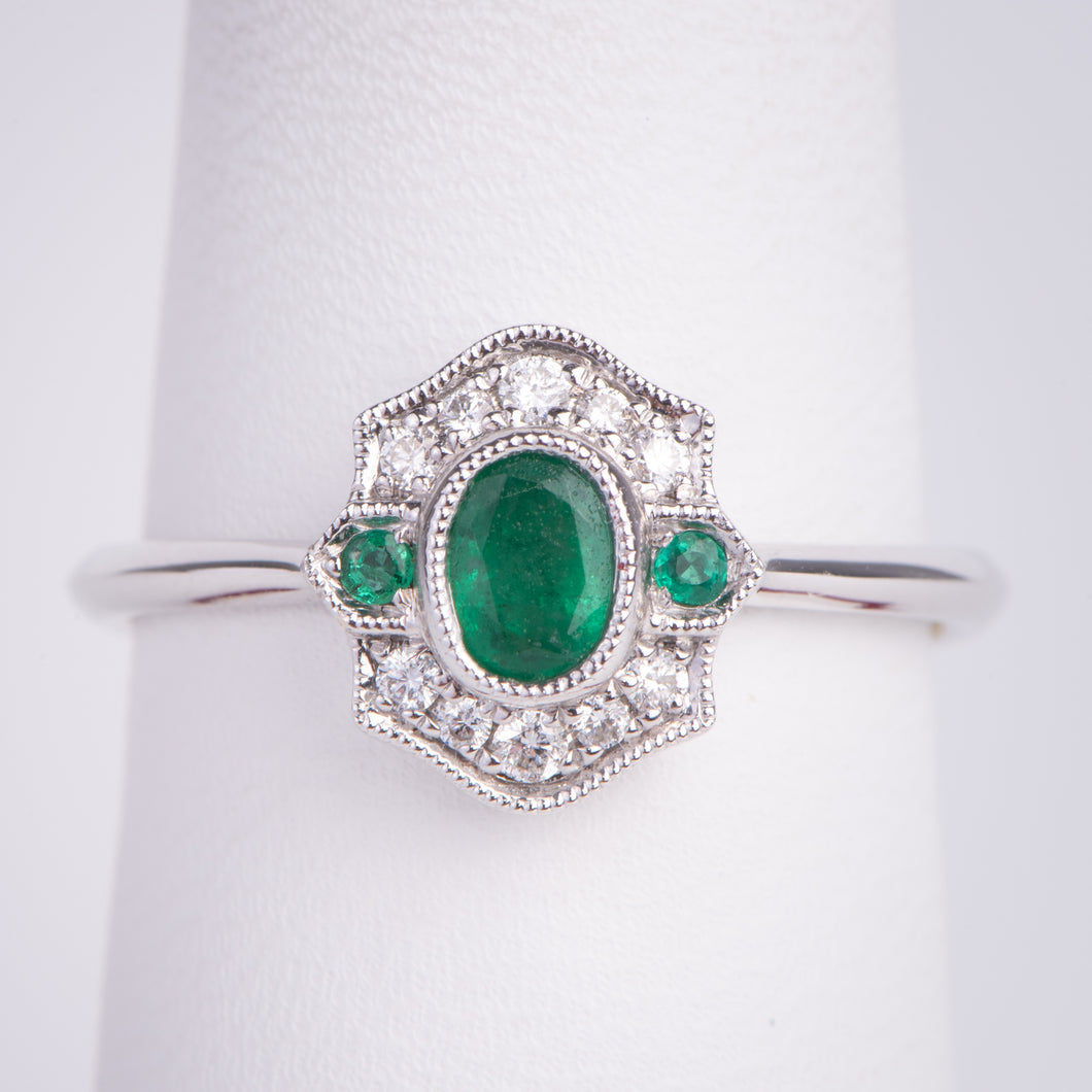 14kt White Gold Natural Emerald and Diamond Ring