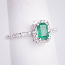 Load image into Gallery viewer, 18kt White Gold Natural Emerald and Diamond Ring