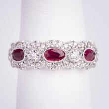 Load image into Gallery viewer, 14kt White Gold Natural Ruby and Diamond Ring