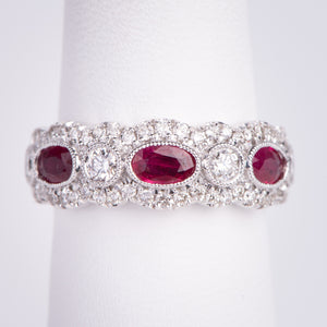 14kt White Gold Natural Ruby and Diamond Ring