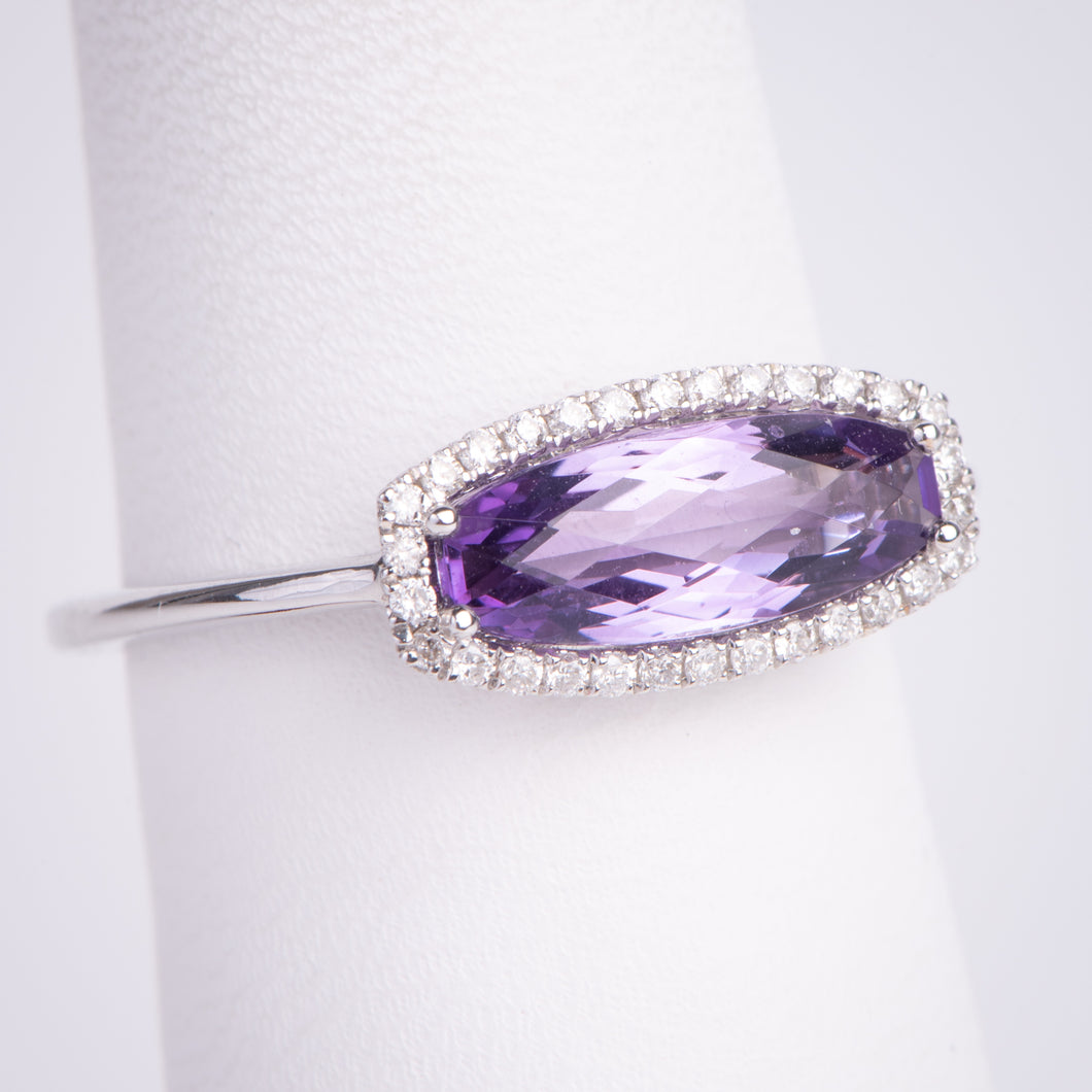 14kt White Gold Amethyst and Diamond Ring