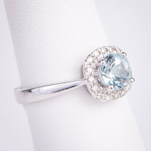 Load image into Gallery viewer, 14kt White Gold Aquamarine and Diamond Ring