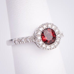 14kt White Gold Garnet and Diamond Ring