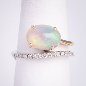 14kt Yellow and White Gold 1.08 Opal .20 ctw Diamond