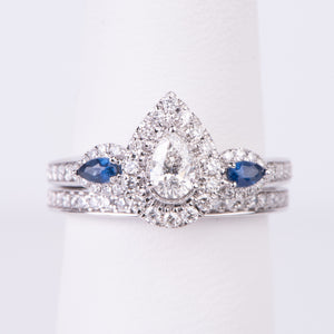 14kt White Gold Diamond and Sapphire Engagement Ring and Wedding Band