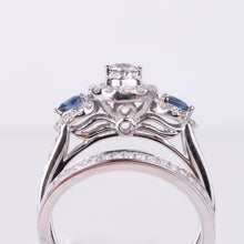 Load image into Gallery viewer, 14kt White Gold Diamond and Sapphire Engagement Ring and Wedding Band