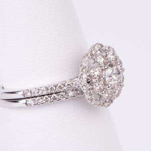 14kt White Gold Diamond Engagement Ring and Wedding Band