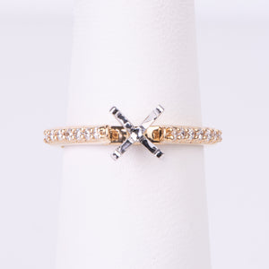 14kt Yellow Gold Diamond Engagement Semi Mount Ring