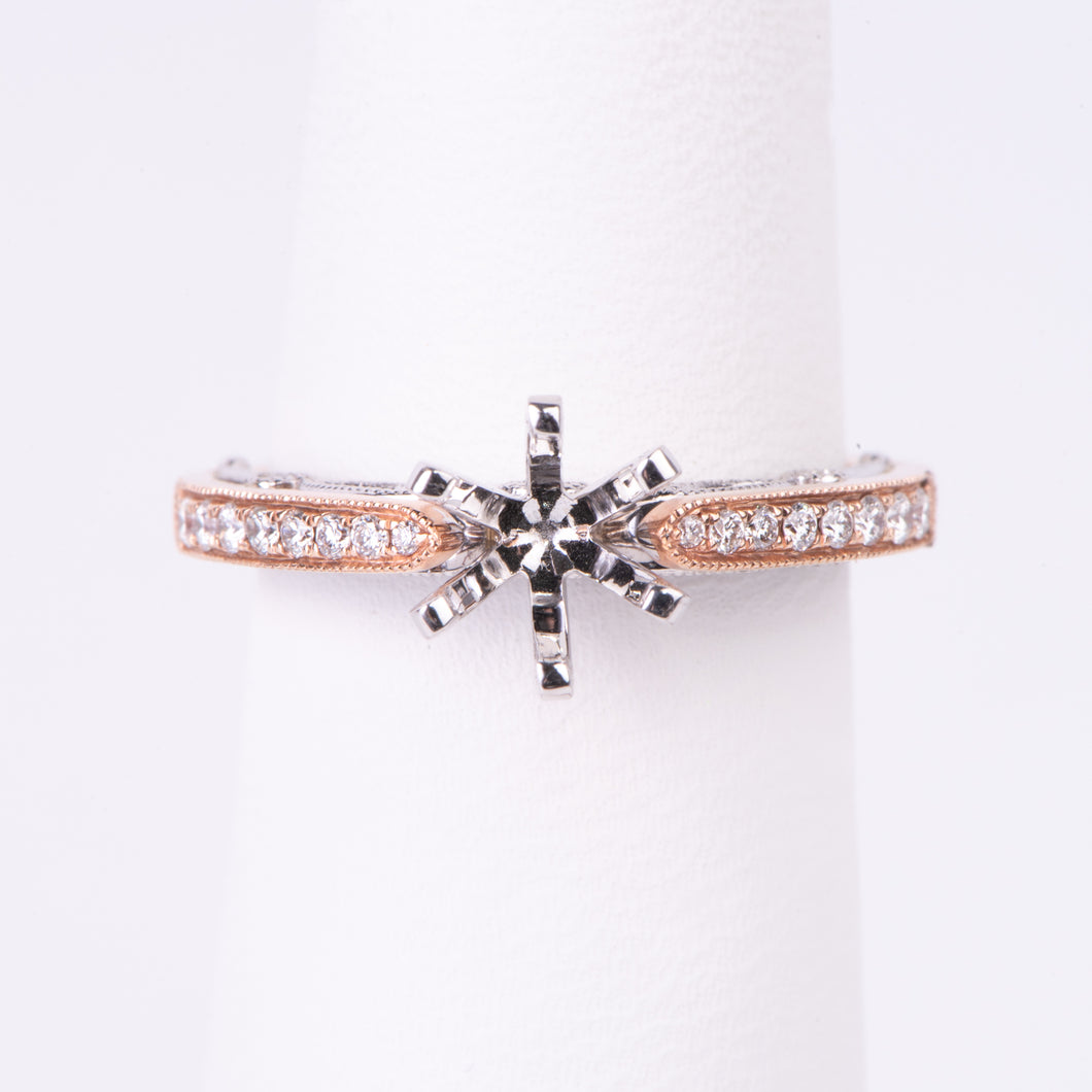 14kt Rose and White Gold Diamond Engagement Semi Mount Ring