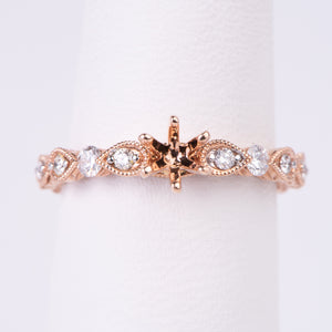 14kt Rose Gold Diamond Engagement Semi Mount Ring