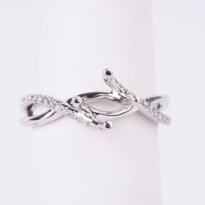 14kt White Gold Diamond Engagement Semi Mount Ring