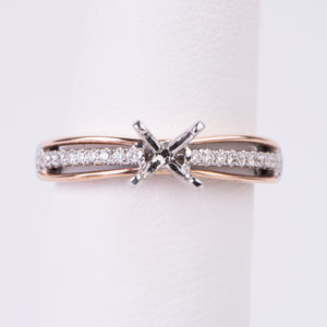 14kt White and Rose Gold Diamond Engagement Semi Mount Ring