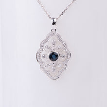 Load image into Gallery viewer, 14kt White Gold Natural Sapphire and Diamond Pendant