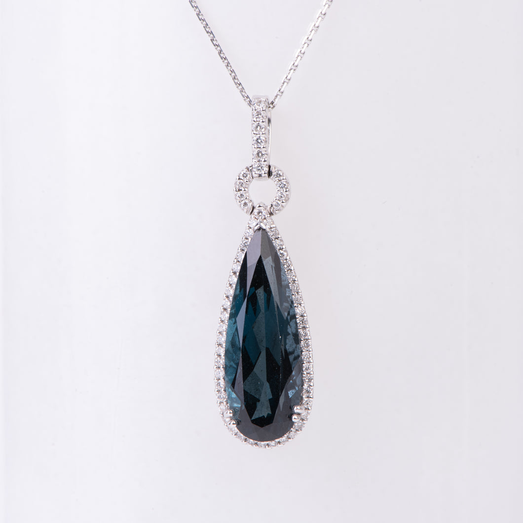 14kt White Gold London Blue Topaz Pendant