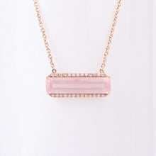 Load image into Gallery viewer, 14kt Rose Gold Pink Quartz Diamond Pendant