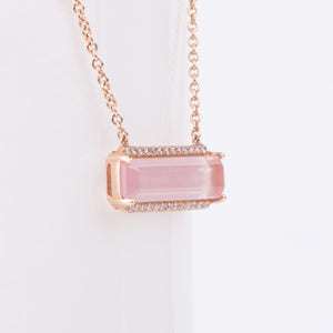 14kt Rose Gold Pink Quartz Diamond Pendant