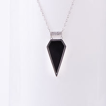 Load image into Gallery viewer, 14kt White Gold Black Onyx and Diamond Pendant