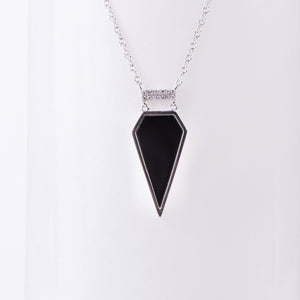 14kt White Gold Black Onyx and Diamond Pendant