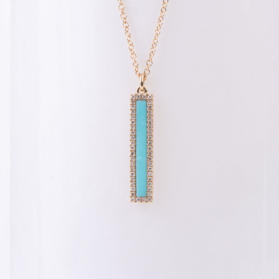 14kt Yellow Gold Turquoise and Diamond Pendant