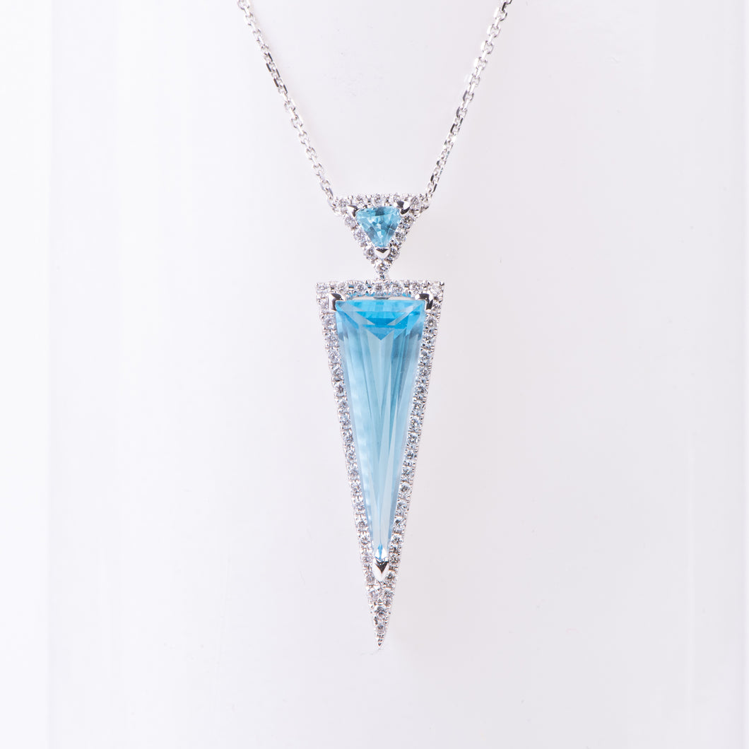 14kt White Gold Blue Topaz and Diamond Pendant