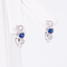 Load image into Gallery viewer, 14kt White Gold Natural Sapphire and Diamond Earrings