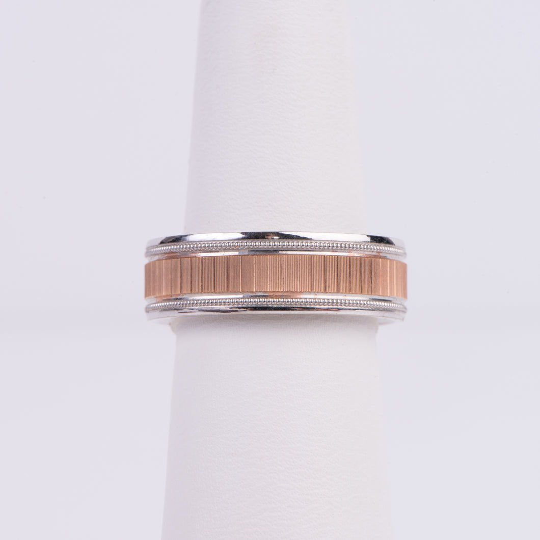 Men's 10kt White and Rose Gold Wedding Band