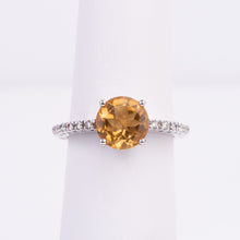 Load image into Gallery viewer, 14kt White Gold Citrine and Diamond Ring