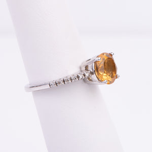14kt White Gold Citrine and Diamond Ring