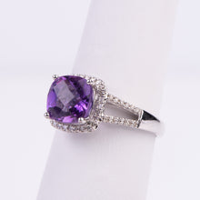 Load image into Gallery viewer, 14kt White Gold Amethyst and Diamond Ring