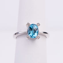 Load image into Gallery viewer, 14kt White Gold Blue Topaz and Diamond Ring