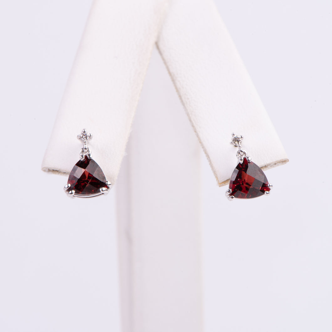 14kt White Gold Garnet and Diamond Earrings