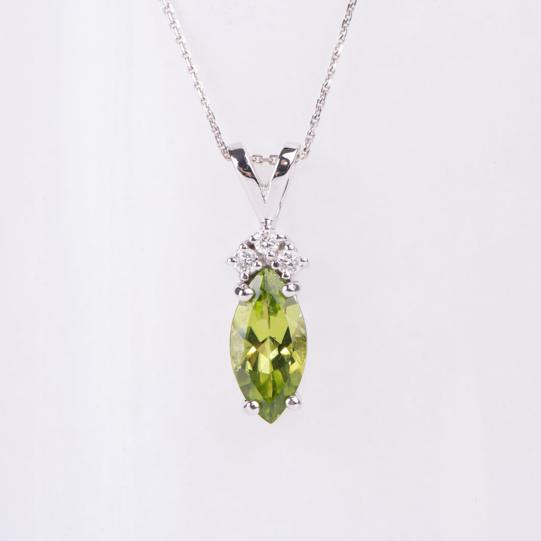 14kt White Gold Peridot and Diamond Pendant