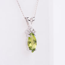 Load image into Gallery viewer, 14kt White Gold Peridot and Diamond Pendant