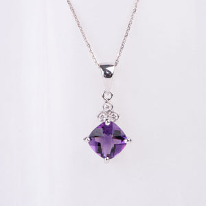 14Kt Yellow Gold Amethyst and Diamond Pendant