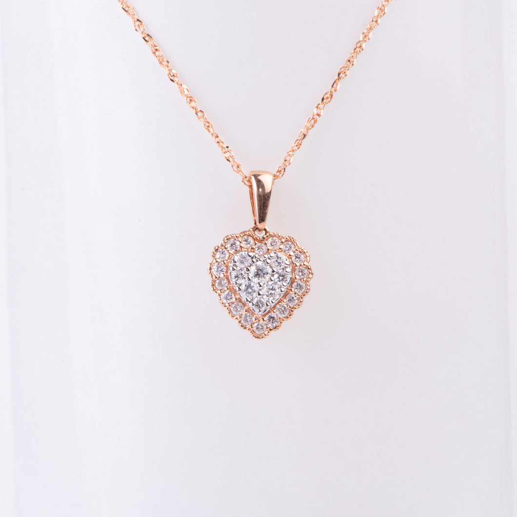 14kt White and Rose Gold  Diamond Pendant