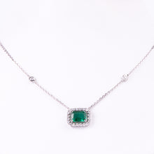 Load image into Gallery viewer, 18kt White Gold Natural Emerald and Diamond Pendant