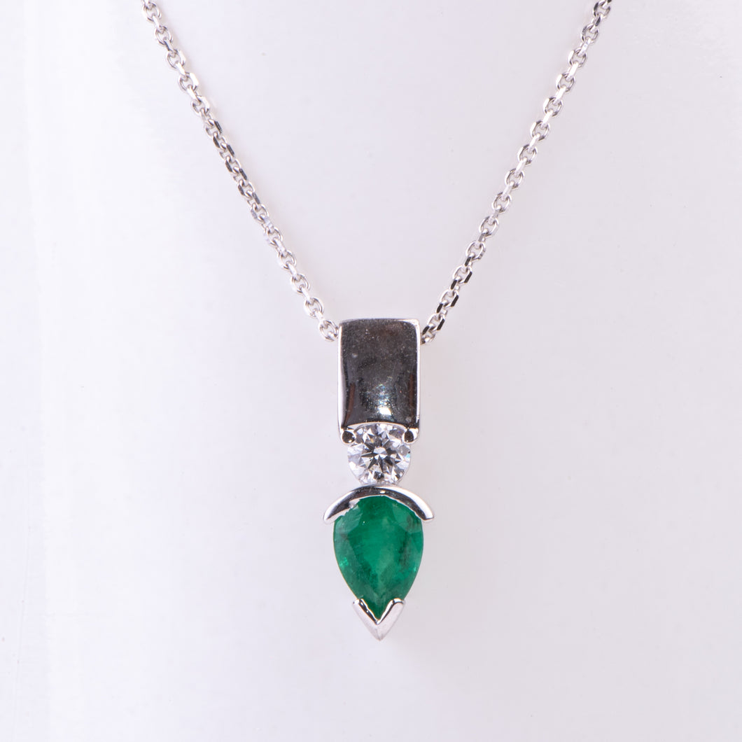 14kt White Gold Natural Emerald and Diamond Pendant